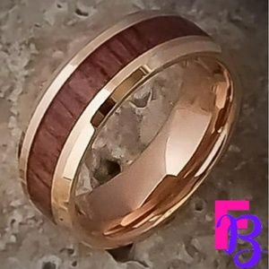 Hand crafted 8mm Rose Gold & Tungsten Koa Band